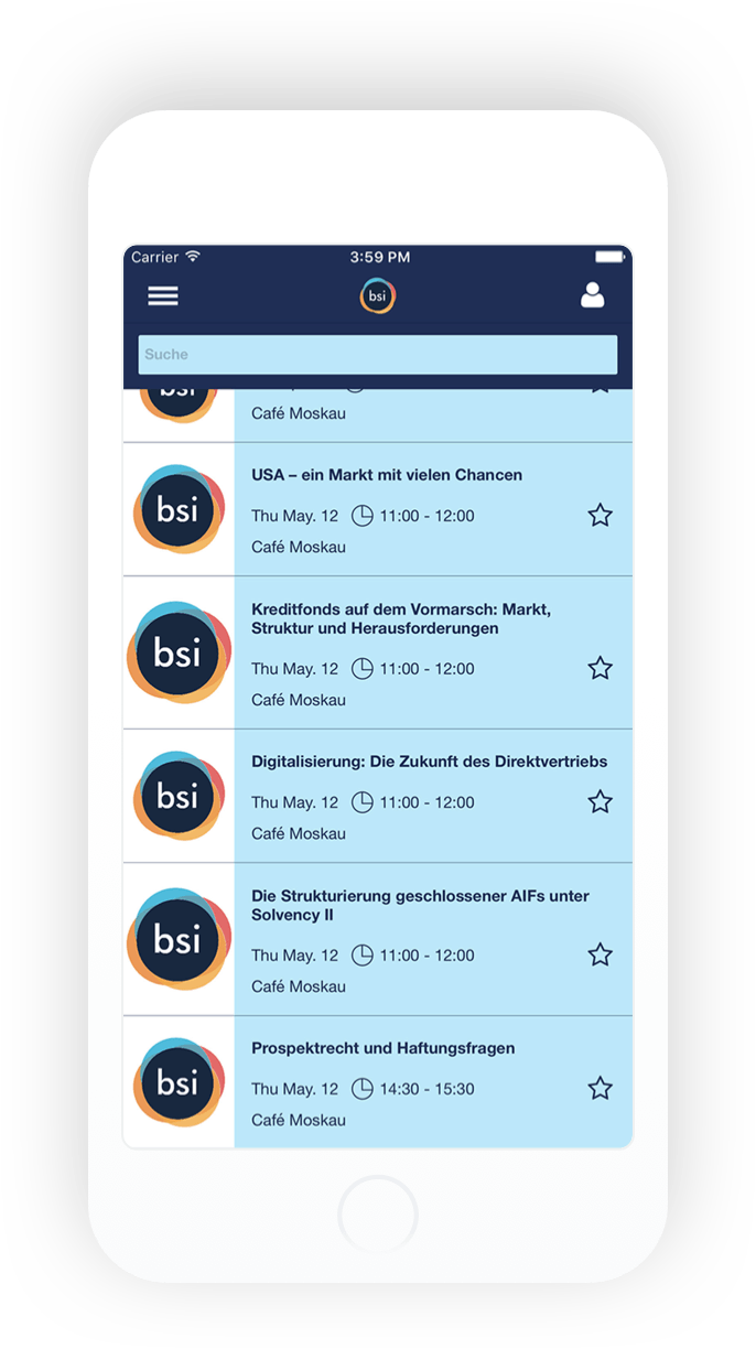 bsi Summit iOS Android events mockup
