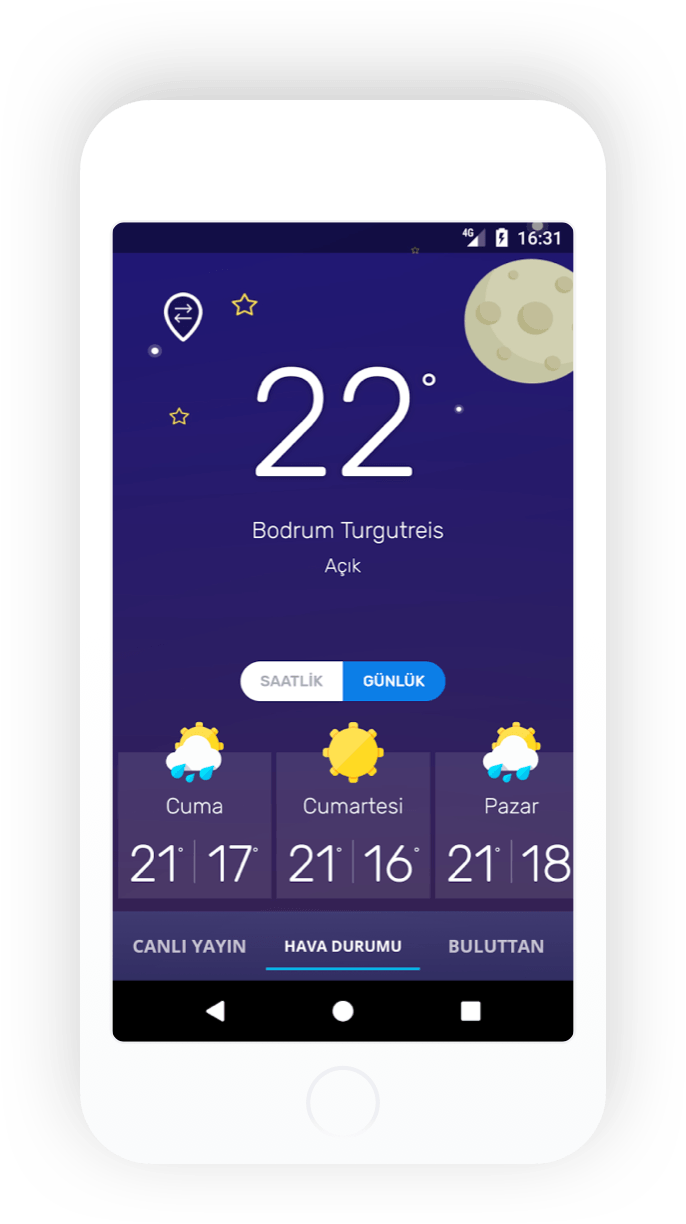 Buluttan Android daily weather mockup