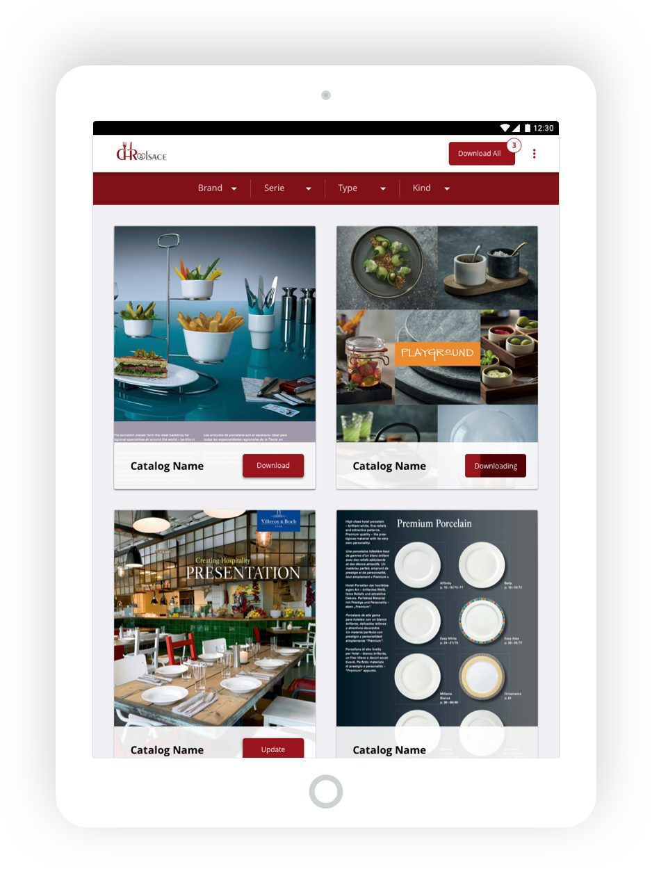 CHR Alsace Android tablet catalog list mockup