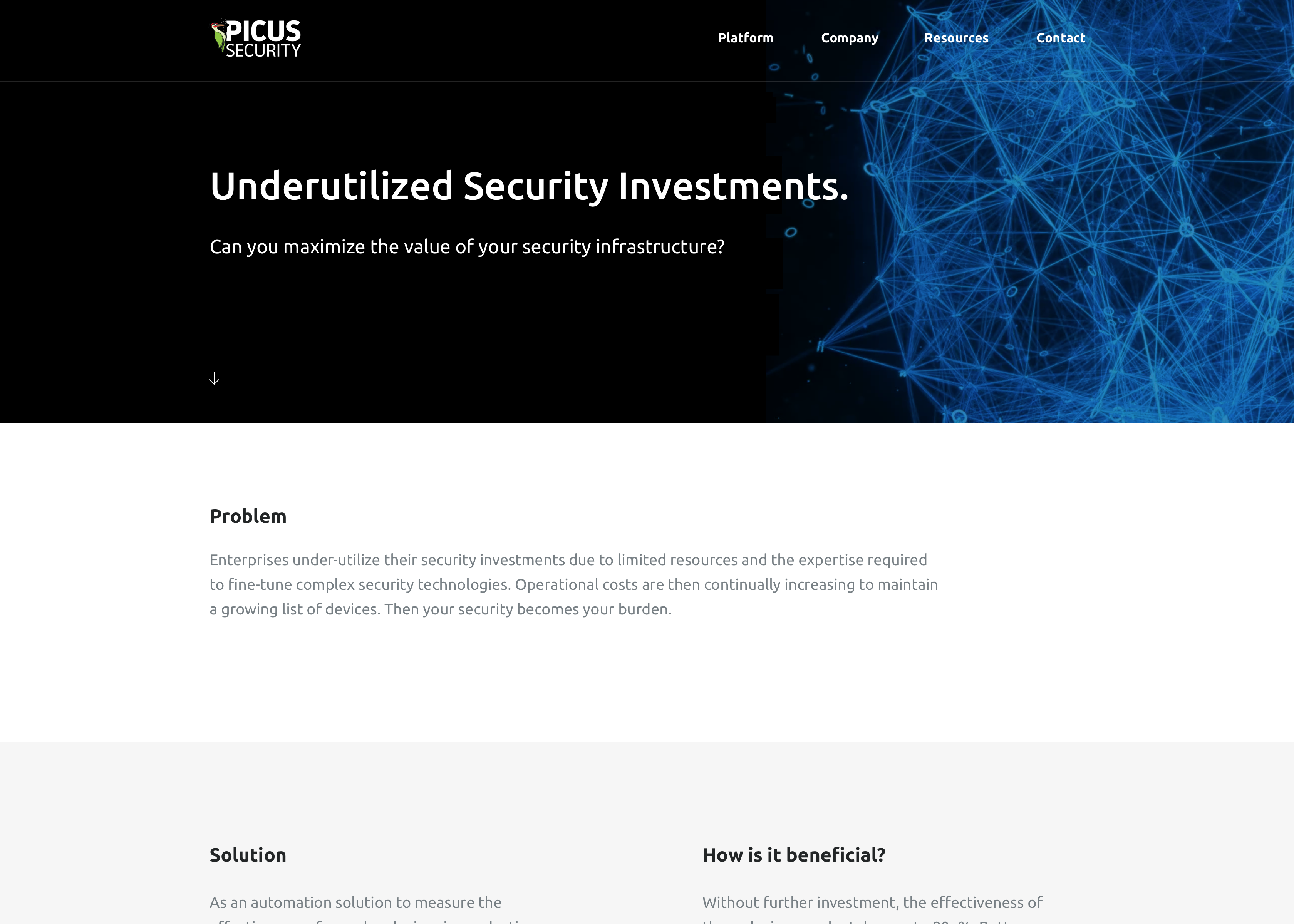 Picus Security underutilized security investments page